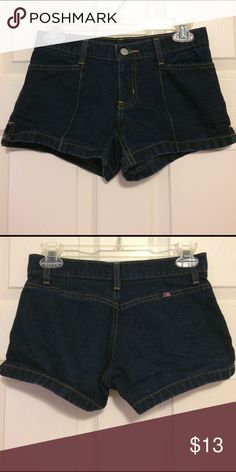 Denim paneled shorts Dark wash. Tag says 1/2 but fits more like a 0. Paneled with pockets on the front but not back. Shorts Jean Shorts