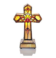 Tiffany Styled Cross Sympathy Lamp - Amber