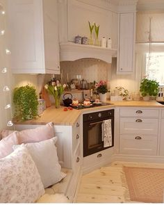 This is such a cute placement, I would never have thought of a corner stove . - This is such a cute placement, I would never have thought of a corner stove …. This is such a cute placement, I would never have thought of a corner stove …. Home Decor Kitchen, Country Kitchen, Kitchen Interior, Home Kitchens, Cozy Kitchen, Kitchen Stove, Tan Kitchen, Swedish Kitchen, Kitchen Yellow