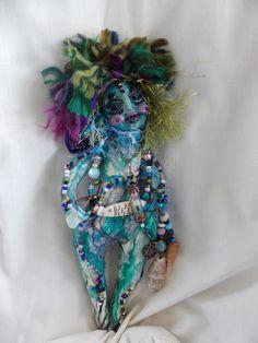 Doll fabric sculptured art sea nymph ooak doll by greeniedcat, $45.00