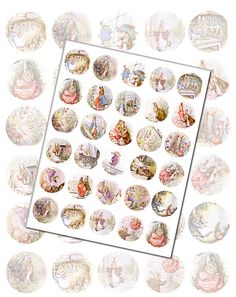 """Digital Collage Sheet Antique Peter Rabbit Illustrations  - 1.5"""" Printable Circles for Pendants & Jewelry Making"""