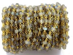 3 Feet Labradorite Rondelle Faceted 3.5-4mm Rosary Chain Beads 24K Gold Plated #shrijewelers_7 #Faceted