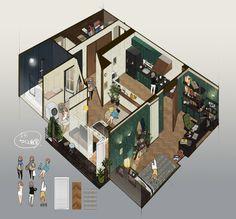 SINNNKAI Japanese Style House, Isometric Art, Art Prompts, Sims House, Environment Concept Art, Anime Scenery, Environmental Art, House Layouts, Art Background