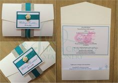 Silver glitter belly band pocket fold invitation with teal ribbon and mulberry rose   www.jenshandcraftedstationery.co.uk  www.facebook.com/jenshandcraftedstationery Hand Made Wedding stationery: Save the date, Wedding invitations, Table Plans, Place Settings, Guest Books, Post Boxes, Menus, Table Numbers/Names