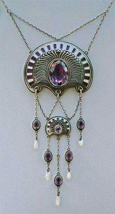 ERICH KLEINHEMPEL  1874-1947  Jugendstil, Art Nouveau Silver Enamel Amethyst Pearl