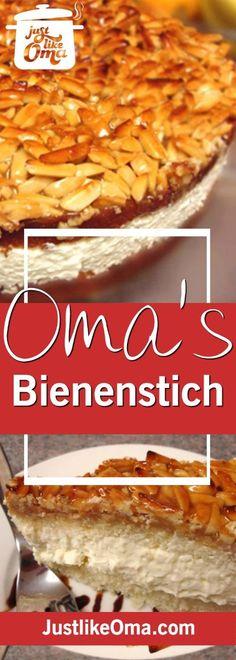 "Bienenstich Cake: Mike's birthday cake, a German ""Bee Sting"" cake. ❤️ Sweet, sticky, creamy, wunderbar! http://www.quick-german-recipes.com/bienenstich-recipe.html"