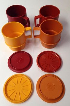 8 pc Stacking Mugs & Coasters Complete Set Vintage #Tupperware Harvest Red Yellow