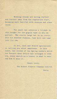 Letter from The Robert Simpson Company Toronto Canada Paris Office April, 1926 Toronto Canada, Vintage Fashion, Lettering, Paris, Montmartre Paris, Drawing Letters, Paris France, Fashion Vintage, Preppy Fashion