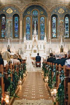 church marriage ceremony decorations ceremony with greenery and candles aisle paula ohara . church marriage ceremony decorations ceremony with greenery and candles aisle paula ohara pictures Wedding Ceremony Ideas, Wedding Pews, Church Ceremony, Ceremony Decorations, Church Decorations, Winter Church Wedding, Wedding Church Aisle, Wedding Centerpieces, Church Weddings