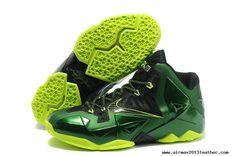 Black Green Volt Lebron James Shoes 2013 Nike Lebron XI (11)