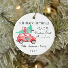 First Christmas New Home For the Holidays Car Tree Ceramic Ornament - tap/click to get yours right now! #CeramicOrnament #first #christmas, #new #home, #address,