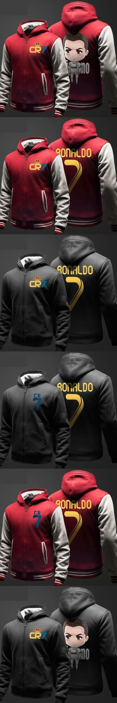High Quality CR7 Cristiano Ronaldo Hoodies Zipper Fleece Coat Winter Black 3XL