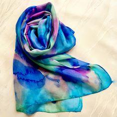 """Splash of Colour"" Green Turquoise, Blue Green, Purple, Silk Art, Silk Painting, 100 Pure, Wearable Art, Dyes, Color Splash"