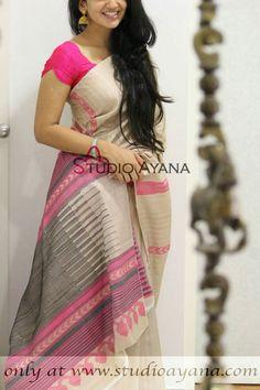 Discover thousands of images about Beena Menon Half Saree Designs, Saree Blouse Neck Designs, Simple Blouse Designs, Stylish Blouse Design, Saree Trends, Saree Models, Stylish Sarees, Casual Saree, Elegant Saree