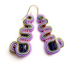 lazy summer morning  soutache earrings  free by KimimilaArt