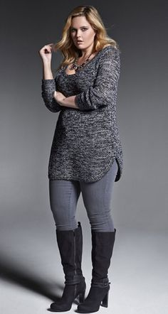 Casual Plus Size Leggings with Sweater Dress