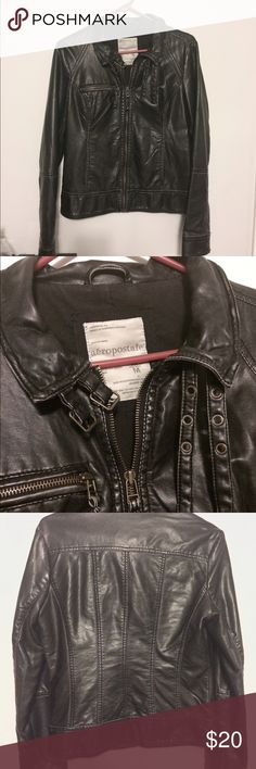 🖤 BLACK FAUX LEATHER JACKET 🖤 In great condition! Medium, but as it's Aero it fits more like a small. Was only worn a few times before I outgrew it, and it's been sitting lonely ever since. Soft fake leather with no visible blemishes. Looks cute over a flouncy dress for a day look, or jeans and booties for a night out! I accept reasonable offers. Remember to bundle and save! 🖤 Aeropostale Jackets & Coats Utility Jackets