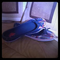 Plaid Polo Boatshoes Super cute, never worn. Would look great with khakis or jeans. US Polo Assn Shoes