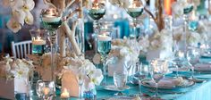 tiffany blue and white wedding table