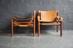 Arne Norell Rosewood and Leather Sirocco Safari Chair (PAIR)
