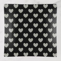 #black - #Pussywillow Gray polka hearts on black Trinket Trays