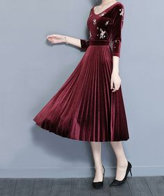 Take a look at this Red Wine Embroidered Pleated Velvet A-Line Dress today!