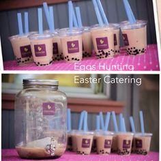 Catering for Eggs Hunting Special order by beatrice for #easter #bunny, making 25 cups #black #milktea with #boba for the adults and kids.   To keep the milk tea fresh and tasty, I made an ice bag and put inside the jar.   Good feedback and all love the yummy drink. It keep parents awake and kids hyper during the eggs hunting.