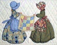 "MEG - ""Gentlewomen Bonnet Girls Relatives & Friends"" New Quilt with two… Quilt Block Patterns, Applique Patterns, Applique Quilts, Applique Designs, Quilting Designs, Quilt Baby, Sue Sunbonnet, Quilts Vintage, Hand Applique"