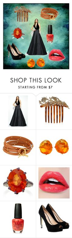 """""""Shania Formal"""" by nymph337 on Polyvore featuring Mac Duggal, Jennifer Behr, Tory Burch, Chanel, Martin Katz, OPI and GUESS"""
