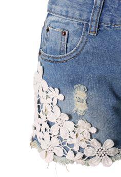 Crochet Detail Denim Cutoff Shorts - Pants - Bottoms - Retro, Indie and Unique Fashion