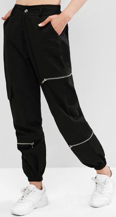 Cool in the best way, these jogger pants are given an edgy look with the zippered design at the front and finished with the high-rise cut. They are the perfect partners for your favorite cropped tops or tucked-in tops to complete a cool modern look.