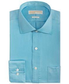"Michael Kors Men's Non-Iron Cotton Dress Shirt (17"" Neck 32/33"" Sleeve, Robin's Egg Blue) at Amazon Men's Clothing store:"