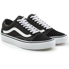 Vans Old Skool Sneakers (€58) ❤ liked on Polyvore featuring shoes, sneakers, vans, black, leather shoes, vans trainers, black trainers, vans footwear and leather trainers