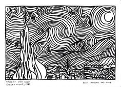 Van Gogh Starry Night Coloring Page, Vincent Van Gogh Starry Night 1889 Colouring Page