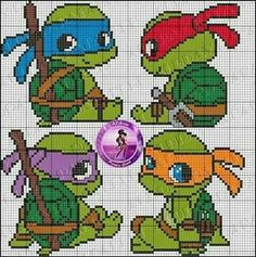 Cute idea for Cross-stitch Baby Ninja Turtles. no color chart available, just use pattern chart as your color guide. TMNT perler bead pattern by Drayzinha Cross Stitch Baby, Cross Stitch Charts, Cross Stitch Patterns, Motifs Perler, Perler Patterns, Beading Patterns, Embroidery Patterns, Crochet Patterns, Knitting Patterns