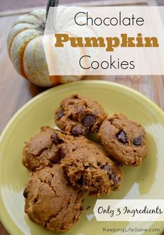 ONLY 3 INGREDIENTS!  These are so easy to make and delicious! Chocolate Pumpkin Cookies