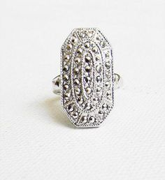 Antique Sterling Silver Marcasite Art Deco Ring by alchemievintage, $68.00