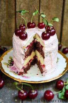 Chocolate cherry kirsch cake