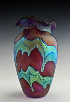 #63.  Bohemian Art Glass Czech Iridescent Vase
