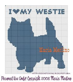 Crochet Living: I Love My Westie (West Highland Terrier) Crochet Chart or Graph