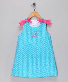 Take a look at this Aqua Flower Monogram Jumper - Infant & Toddler by Lollypop Kids Clothing on #zulily today!