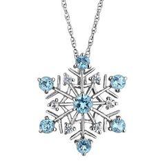 Amazon.com: Swiss Blue Topaz and White Sapphire Snowflake Pendant: Jewelry