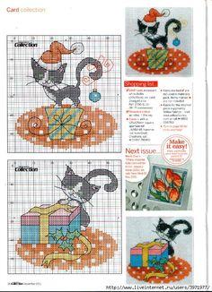 Cross-stitch Christmas Curious Cats, part 2... Gallery.ru / Photo # 5 - Greeting Cards-2 - Yra3raza