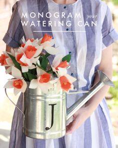 diy monogram watering can. it just kinda makes my heart happy..