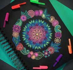 Pen Art, Art Diy, Planner Bullet Journal, Doodle Art, Mandala, Gel Pen Art, Mandala Design Art, Design Art, Art Inspiration