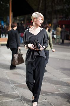 Love the trousers & the slouchy v-neck but can do without seeing bra straps. Just sayin'.....