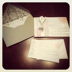 DIY Lace Invitations :  wedding diy ivory lace doily invitations pink Photo