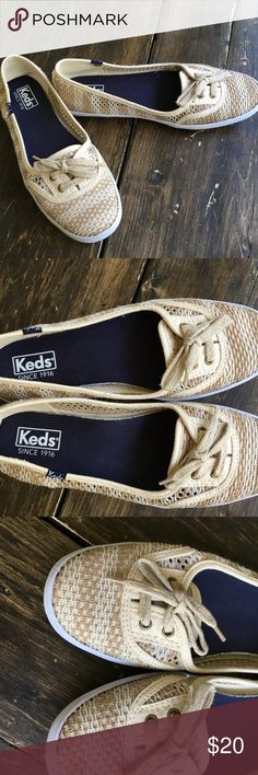Keds Slip on sneakers size 7.5 Keds Slip on sneakers size 7.5.  Beige/ brown striped mesh.  Comfortable foot-bed, medium arch support.   These shoes are very comfortable! Only worn a few times. Keds Shoes Flats & Loafers