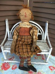 Primitive Doll Grungy Rag Doll Raggedy Ann Doll by mustardseed Primitive Folk Art, Raggedy Ann, Recycled Fabric, Mustard Seed, Early American, Art Dolls, Annie, Primitives, Antiques