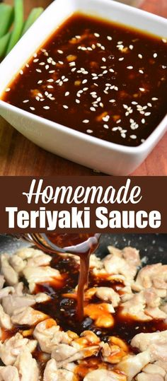 Incredibly easy and delicious homemade Teriyaki Sauce that goes perfectly in many dishes and takes only a few minutes to prepare. Chicken Teriyaki Rezept, Sauce Teriyaki, Homemade Teriyaki Sauce, Best Teriyaki Recipe, Terriyaki Sauce, Homemade Sauce, Beef Recipes, Chicken Recipes, Cooking Recipes